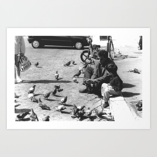 father and son (and a dove) Art Print
