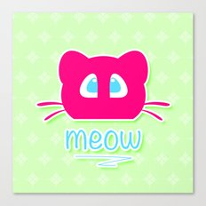 Pink cat head with blue eyes. Meow =) Canvas Print