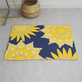 Sunshine yellow navy blue abstract floral mandala Rug