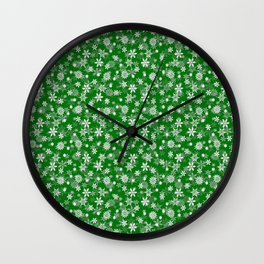 Festive Green and White Christmas Holiday Snowflakes Wall Clock