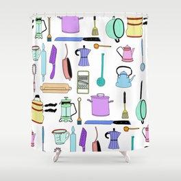 Kitchen essentials in pastel Shower Curtain