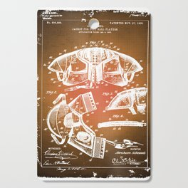 Football Shoulder Pads Patent Blueprint Drawing Sepia Cutting Board