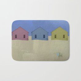Beach Cottages, colorful houses, coastal, row houses Bath Mat