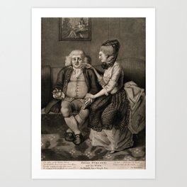 Paulo Purganti, a physician shrinking from his wife's caresses. Mezzotint. Art Print