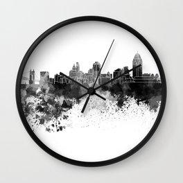 Cincinnati skyline in black watercolor Wall Clock