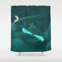 pilot Shower Curtains featuring Pilot by Ramona Treffers