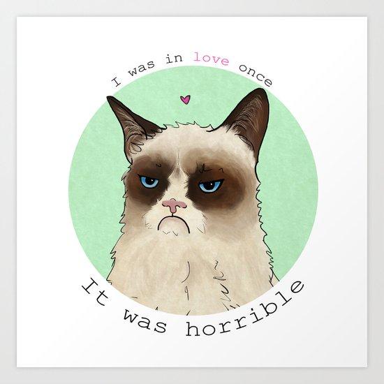 Grumpy cat love Art Print