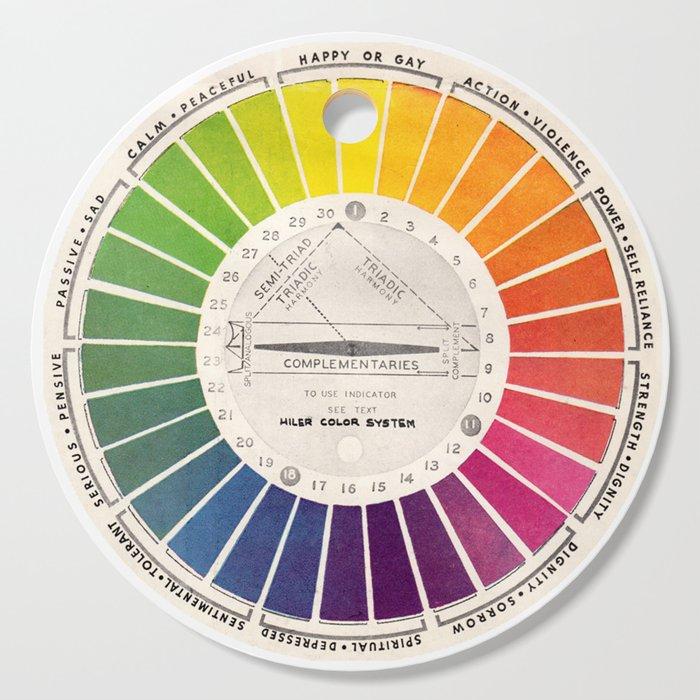 Vintage Color Wheel - Art Teaching Tool - Rainbow Mood Chart Cutting Board