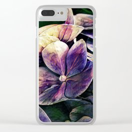 Hortensia flowers in vintage grunge watercoloring style Clear iPhone Case