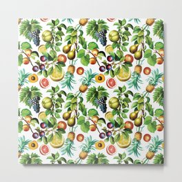 Vintage Colorful Fruits Metal Print