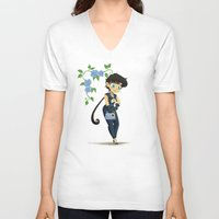 transistor V-neck T-shirts featuring Retro Sailor Star Fighter by Crimson Pumpkin