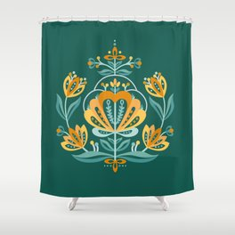 Nordic Dark Green Rose Shower Curtain
