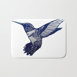 Single Blue print humming bird Bath Mat