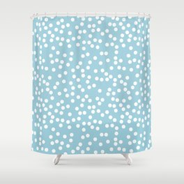 Cute Baby Blue and White Polka Dot Pattern Shower Curtain