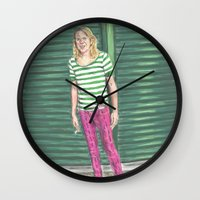 hot pink Wall Clocks featuring Ariel Pink: Hot Pink! by Jaime Cartwright