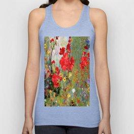Red Geraniums in Spring Garden Landscape Painting Unisex Tank Top