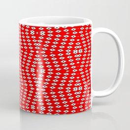 Red Background, White Diamond and Black Spots 2 Coffee Mug