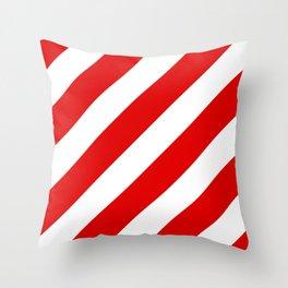 Stripes Diagonal Red & White Throw Pillow