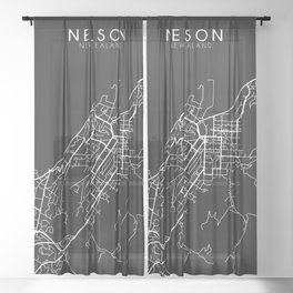 Nelson, New Zealand Street Map Sheer Curtain