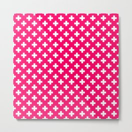 White Crosses on Hot Neon Pink Metal Print