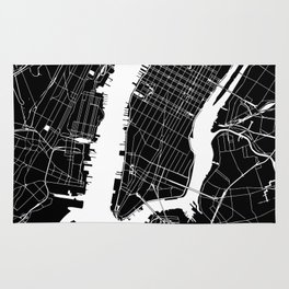 New York City Black On White Rug