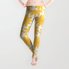 Crayon Flowers Cheerful Floral Pattern in Mustard Yellow and White Leggings