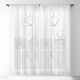 Poppies Minimal Line Art Sheer Curtain
