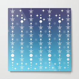 Stars and Night Sky - Blue Gradient Shapes Metal Print
