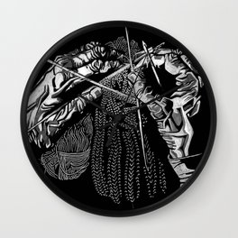 Geometric Black and White Drawing Kitting Hands Wall Clock