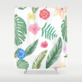 Custom Watercolor  Geographic Palm Leaves, Paint Pattren Shower Curtain