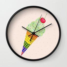 Colorful Ice Cream Cone Design Wall Clock