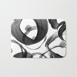 Modern abstract black white hand painted brushstrokes Bath Mat