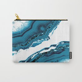 Blue Agate Glitter Glam #1 #gem #decor #art #society6 Carry-All Pouch