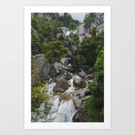 Cascading Waterfall on a Rainy Day - Yosemite Art Print