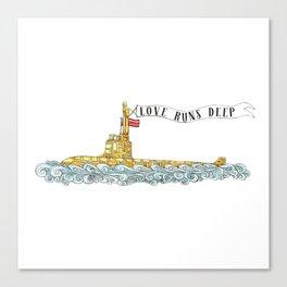 Love Runs Deep - Submarine Art Canvas Print