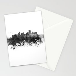 Pittsburgh skyline in black watercolor Stationery Cards
