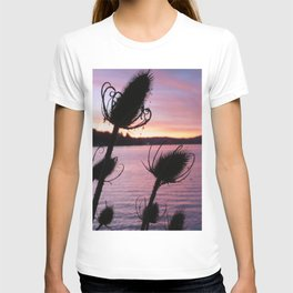 Thistle Silhouette Sunset Reflections T-shirt