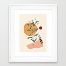 Minimal Line Young Leaves Framed Art Print