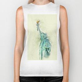 Statue of Liberty in Watercolor Biker Tank