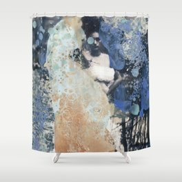 Peach and Periwinkle Shower Curtain