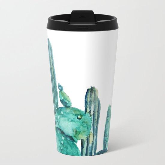 cactus jungle watercolor painting Metal Travel Mug