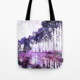 Monet Poplars on the Banks of the River Epte Magenta Violet Tote Bag
