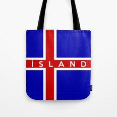 iceland country flag island name text Tote Bag
