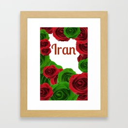 Iran red letters and red and green roses  Framed Art Print