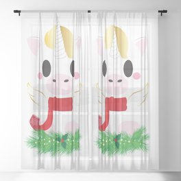 Holiday Unicorn Block - Limited Edition Sheer Curtain