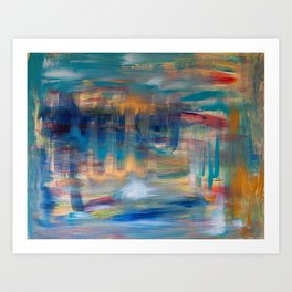 Spiral reach acrylic abstract art original painting in blue, navy, teal and gold Art Print