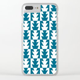 Art Deco Jagged Edge Pattern Peacock Blue Clear iPhone Case