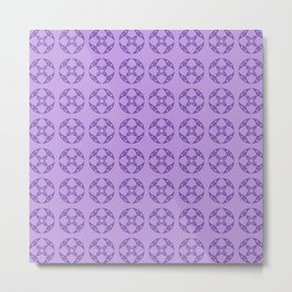 Art Deco Vintage Stylized Flowers Pattern 1 Purple Metal Print
