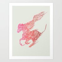 horse Art Prints featuring Horse by Huebucket