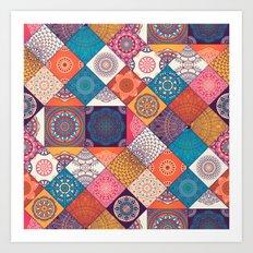 Boho Quilt Pattern Art Print